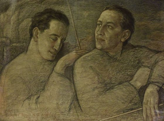 "Двоен портрет на братя Панчо и Любен Владигерови, 1929 г., автор: Борис Георгиев, къща-музей ""Панчо Владигеров"""