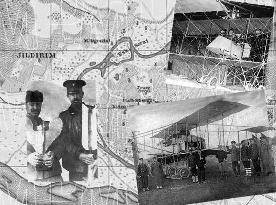 """Продан Таракчиев и Радул Милков (на снимката вляво) с бомбите, които пускат над гара Караагач. Поручик Радул Милков (вдясно) на борда на самолет """"Албатрос"""", с който е извършен първият боен полет над Одрин на 16 октомври 1912 г."""