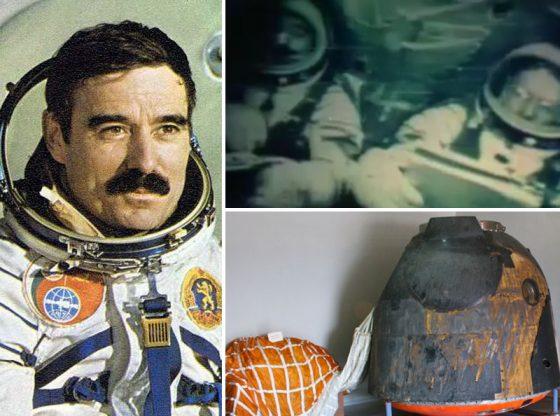"""Долу вдясно е оригиналният спускаем апарат на космическия кораб """"Союз 33"""", който днес се съхранява в Музея на авиацията в авиобаза """"Крумово"""""""