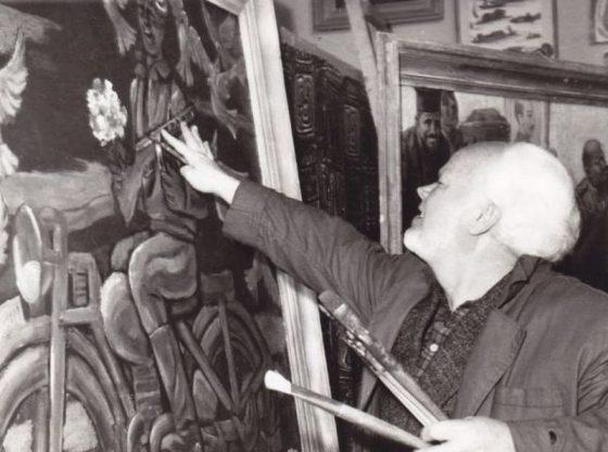 Стоян Венев в ателието си, 1964 г.