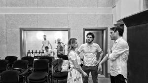 Подготовка за стрийм на джаз изпълнителите от Dock in Absolute във Второ студио на БНР. На заден план от ляво надясно: Йосиф Кокончев, Азад Агасян. На стрийм компютъра: Йордан Марков, 2018 г.