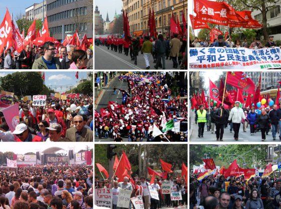Кадри от първомайски демонстрации в Германия, Швеция, Япония, Тунис, Австралия, Финландия, Италия, Израел, Испания.