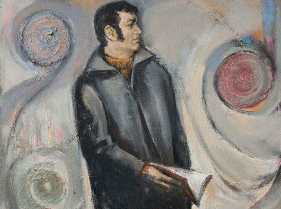 """Рецитал – портрет на Любомир Левчев"" (фрагмент), 1978 г., художник: Георги Ковачев"
