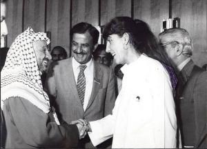 С първия президент на Палестинската автономия Ясер Арафат